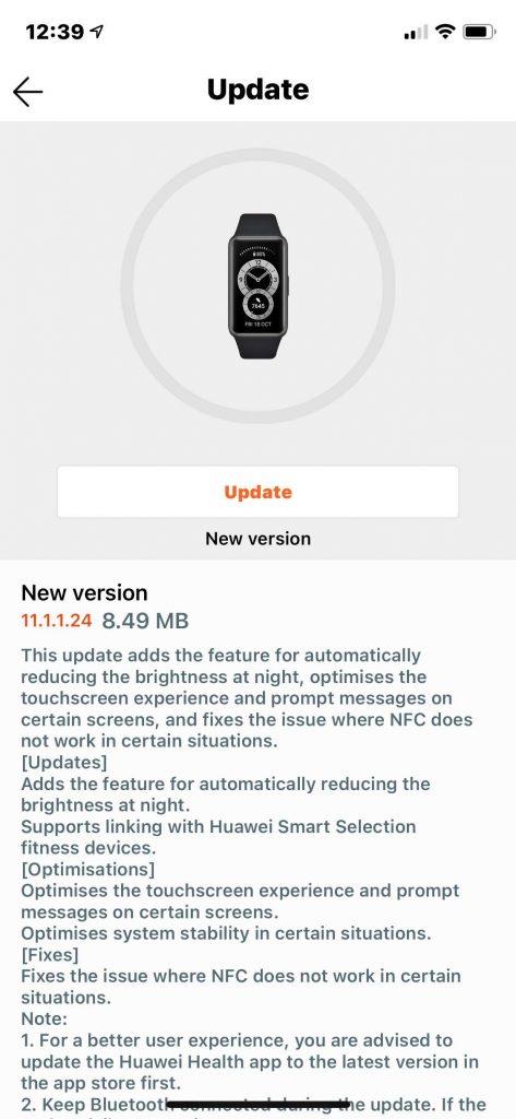 Huawei Band 6 new update