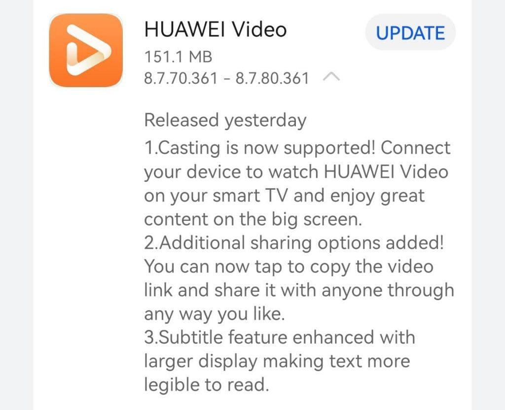 Huawei Video app update